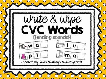 Write & Wipe CVC Words {{ending sounds}}