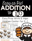 Write & Wipe--Easy as Pie Thanksgiving Themed Additon Center for K-1