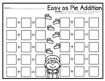 Write & Wipe--Easy as Pie Thanksgiving Themed Additon Center for K-1