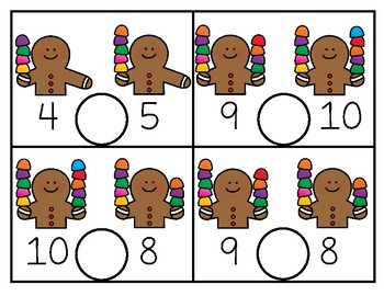 Write & Wipe Gingerbread Inequalites to 15 Center for K-1