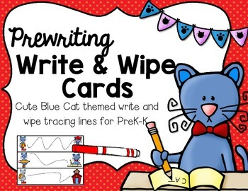 Write & Wipe--I Love My Blue Cat Prewriting Cards for PK-K