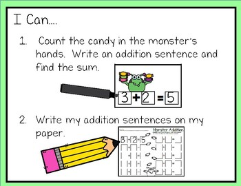 Write & Wipe--Monster Addition to 10 Center for K-1