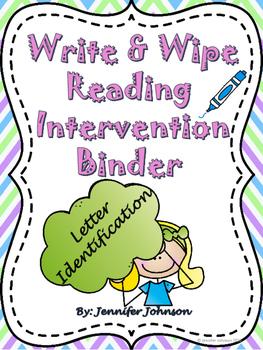 Write & Wipe Reading Intervention Binder 1 Letter Identification