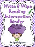 Write & Wipe Reading Intervention Binder 3 Beginning Phoni