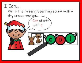 Write & Wipe--Reindeer Themed CVC Center for K-1