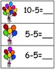 Write & Wipe Subtraction---BalloonThemed Center for Your K-2 Class