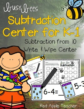 Write & Wipe Subtraction---Busy Bee Themed Center for Your K-2 Class