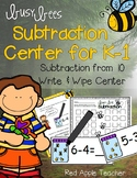 Write & Wipe Subtraction---Busy Bee Themed Center for Your