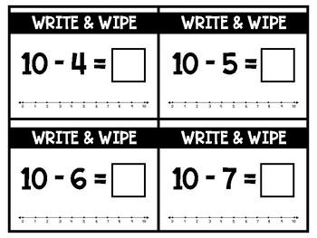 Write & Wipe:  Subtraction Fluency to 10 Math Center