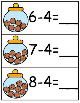 Write & Wipe Subtraction--If You Give a Mouse a Cookie Themed Center for K-2