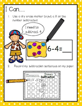 Write & Wipe Subtraction---Seashell Themed Center for Your K-2 Class
