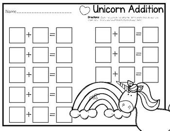 Write & Wipe Unicorn Addition Center for K-1