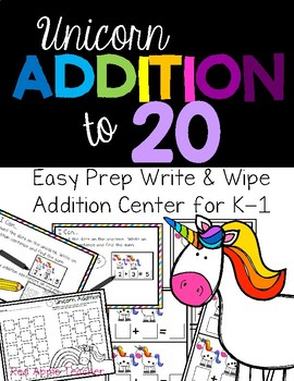 Write & Wipe Unicorn Addition Center for K-1