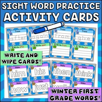 Winter Write, Wipe and Make Cards Dolch First Grade Sight Words