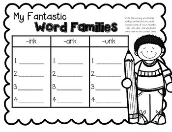 Write & Wipe--ink, -ank, and -unk Word Family Center