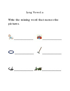 Write Words with Long Vowel A Kindergarten Phonics Sight Words
