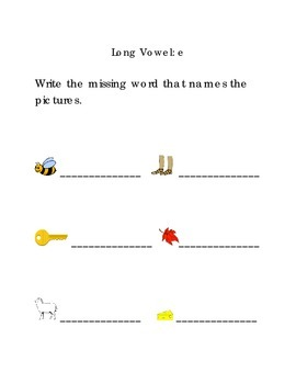 Write Words with Long Vowel E Kindergarten Phonics Sight Words