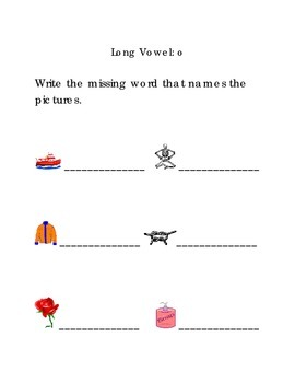 Write Words with Long Vowel O Kindergarten Phonics Sight Words