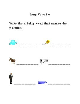 Write Words with Long Vowel U Kindergarten Phonics Sight Words