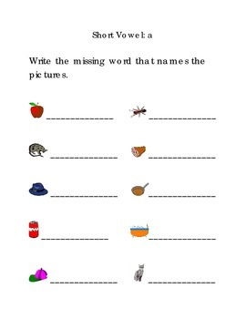 Write Words with Short Vowel A Kindergarten Phonics Sight Words