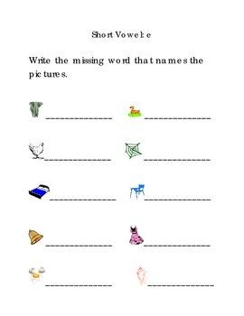 Write Words with Short Vowel E Kindergarten Phonics Sight Words