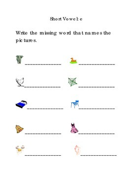 Write Words with Short Vowel E Kindergarten Phonics Sight Words