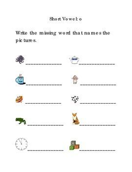 Write Words with Short Vowel O Kindergarten Phonics Sight Words