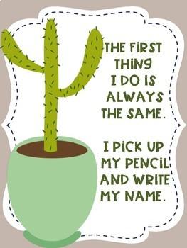 Write Your Name FREEBIE Cactus Succulent Theme