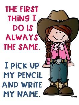 Write Your Name FREEBIE Cowboy Cowgirl Theme