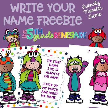 Write Your Name FREEBIE Friendly Monster Theme