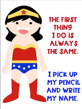 Write Your Name FREEBIE Superhero Theme