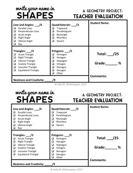Write Your Name in Shapes: Back-to-School Geometry Project, Math Project