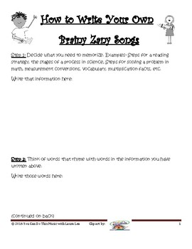 Write Brainy Zany Songs for Fun Review and Test Prep!