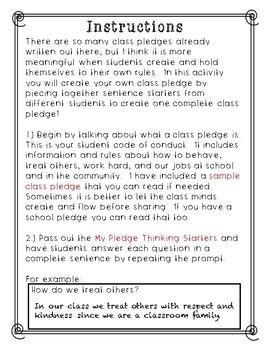 Write Your Own Class Pledge **No Prep** **Build Classroom Community**