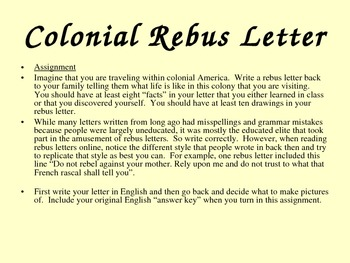 Write Your Own Colonial Rebus Letter