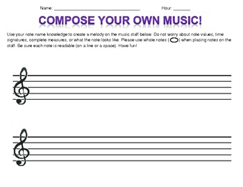 Write Your Own Melody! Worksheet