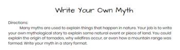 Write Your Own Myth - Greek Mythology