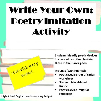 Write Your Own Poetry Imitation Writing Activity For Any Poem By