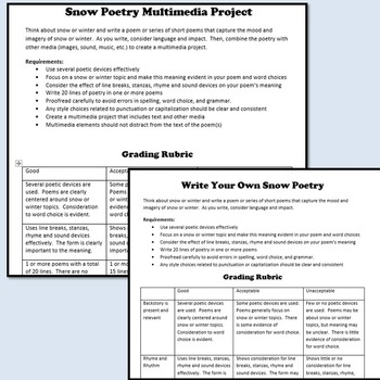 Write Your Own Snow Poetry Writing Assignment & Multimedia Project