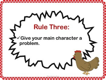 """Write Your Own Story Task Cards following """"The Plot Chickens"""" Rules of Writing"""