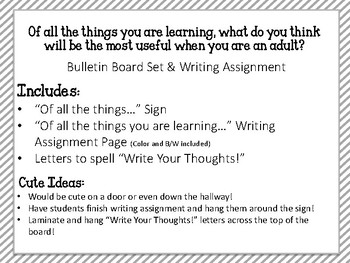 Write Your Thoughts. Bulletin Board Set. Writing Assignment. ...Most Useful...