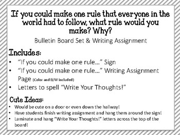Write Your Thoughts. Bulletin Board Set. Writing Assignment. One Rule!