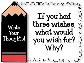Write Your Thoughts. Bulletin Board Set. Writing Assignment. Three Wishes