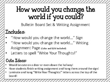 Write Your Thoughts. Bulletin Board Set. Writing. How can you change the world?