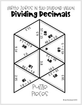 Write Zeros in the Dividend when Dividing Decimals (Mini Puzzle)