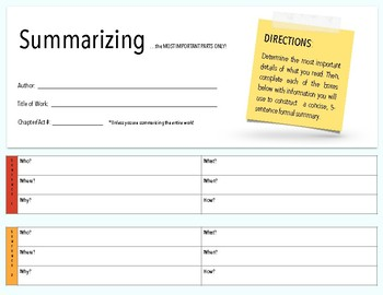 Write a Concise Summary Graphic Organizer