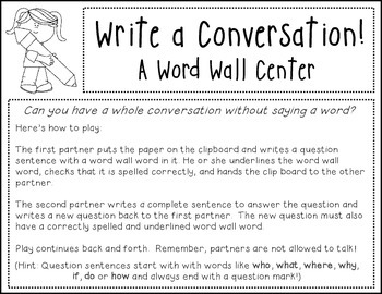 Word Wall (Write a Conversation Center)