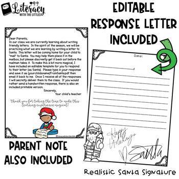 Write a Friendly Letter {Letters to Santa and Editable Response Template}