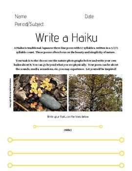 Write a Haiku Worksheets - With Nature Photographs