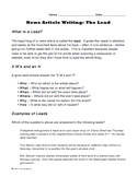 """Write a Lead"" Worksheet for Journalism Class - Learn to Write a News Article"